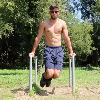 Around The World Knee Raises On Dip Bar